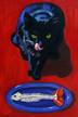 Black Cat Blue Dish by Lili Bernard