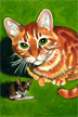 Orange Cat and Field Mouse by Lili Bernard